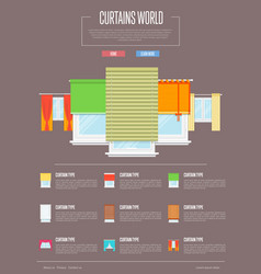 curtains world concept in flat design vector image