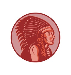 native american indian chief side view vector image