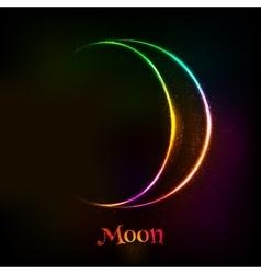 Shining neon light moon astrological symbol vector image vector image