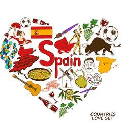 Spanish symbols in heart shape concept vector image