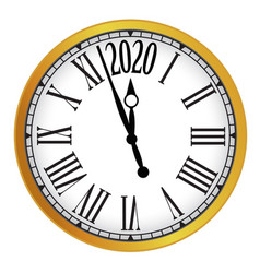 2020 new year gold classic clock on white vector image