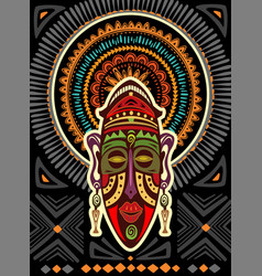 African mask on a background with geometric vector