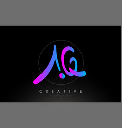 Aq artistic brush letter logo handwritten vector