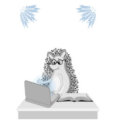 Back to school distance learning hedgehogs at vector