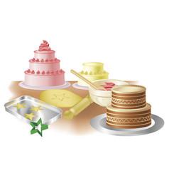 baking cakes and cookies vector image vector image
