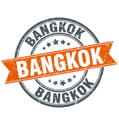 Bangkok red round grunge vintage ribbon stamp vector