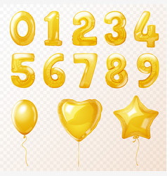 birthday party golden helium balloons in form vector image
