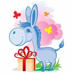 blue donkey vector image