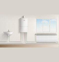 boiler water heater with radiator and washbasin vector image
