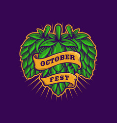 Brewery beer with october fest ribbon template vector