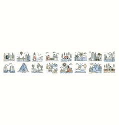 bundle of landscape icons or scenes set vector image