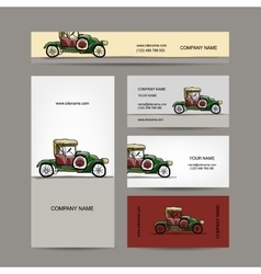 Business cards design retro car vector