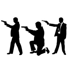businessmen with guns vector image