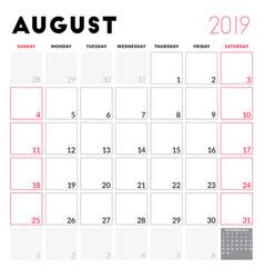 calendar planner for august 2019 week starts on vector image