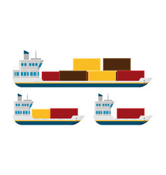 cargo ships isolated flat style vector image