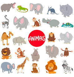 cartoon animal characters large set vector image