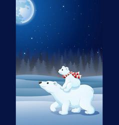 Cartoon baby polar bear riding on her mother back vector