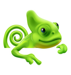 Cartoon chameleon pointing down vector