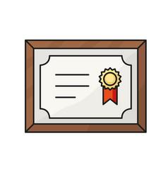 Certificate line icon vector