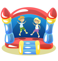 Children are jumping on a trampoline vector