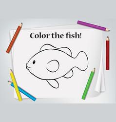 Children fish coloring worksheet vector