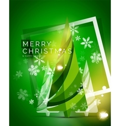 Christmas tree green shiny abstract background vector image