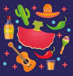 cinco de mayo celebration set icons vector image