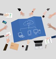 cloud service concept backup data concept vector image