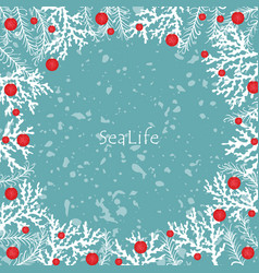 coral pine leaf and christmas ball decoration vector image