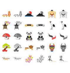 Country japan cartoonmonochrom icons in set vector