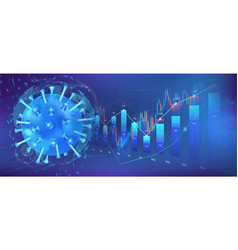 covid19-19 virus hits market economic fallout vector image