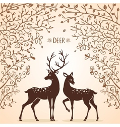 deer trees vector image