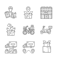 Delivery linear icons set parcel tracking post vector