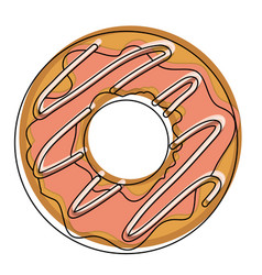 Donut with chocolate glazed in watercolor vector