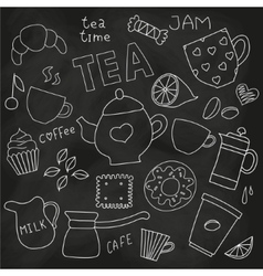 Doodle set of tea and coffee cups and sweets on vector image