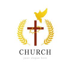 dove cross thorns church logo vector image