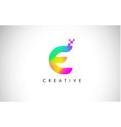 E colorful logo letter design creative rainbow vector