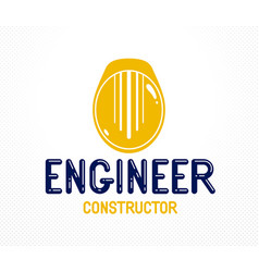 engineer logo or icon with yellow safety helmet vector image