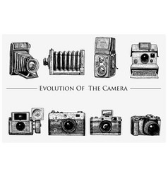 evolution of the photo video film movie camera vector image