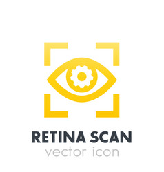 eye with gear icon biometric recognition vector image