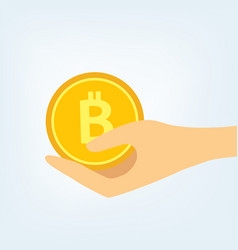 Flat with a hand holding golden bitcoin btc coin vector