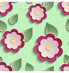 Floral background seamless pattern with 3d flowers vector image
