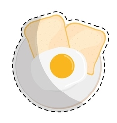 fried egg and bread icon image vector image