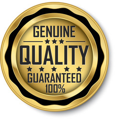Genuine quality guaranteed 100 gold label vector