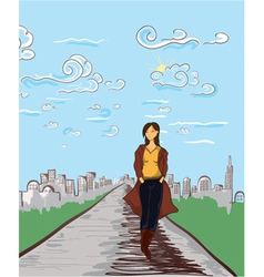 Girl with city vector
