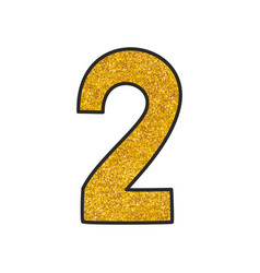 Hand drawn golden number 2 isolated on white vector