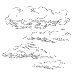 Hand sketch clouds vector