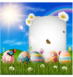 happy easter eggs with paper on grass background vector image