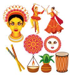 Happy navratri celebration with bundle icons vector