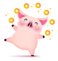 happy rich piggy character for chinese new year vector image
